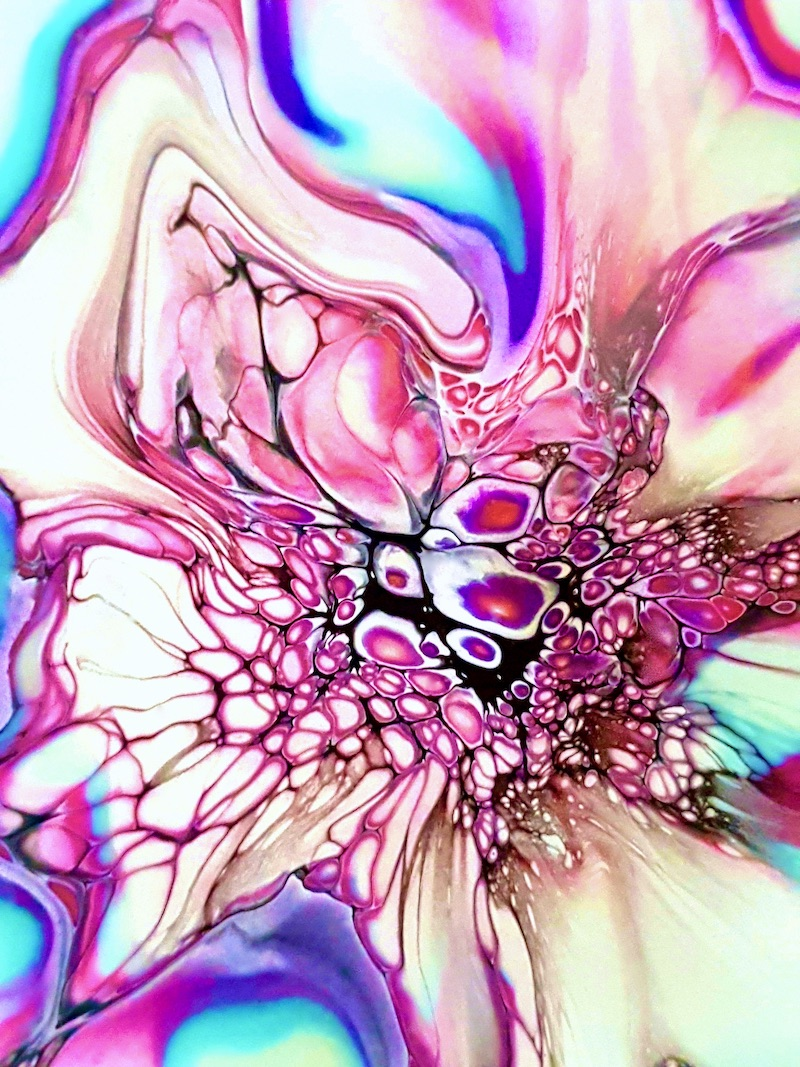 JodeArt Pink Bloom 1 abstract fluid acrylic art available for purchase.