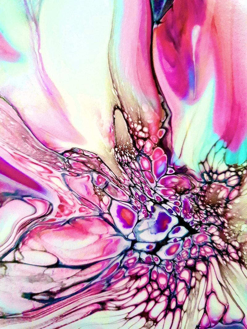 JodeArt Pink Bloom 2R fluid abstract acrylic art print available for purchase.